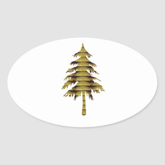 GOLDEN Vintage Style TREE ; lowprice GIFTS chinese Oval Sticker