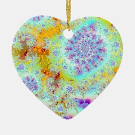 Golden Violet Sea Shells, Abstract Fractal Ocean Ceramic Ornament
