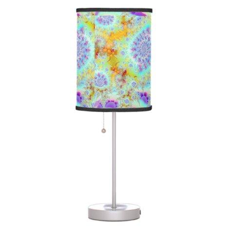 Golden Violet Sea Shells, Abstract Fractal Ocean Desk Lamp