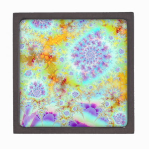 Golden Violet Sea Shells, Abstract Fractal Ocean Premium Trinket Box