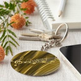 Golden violin key keychain