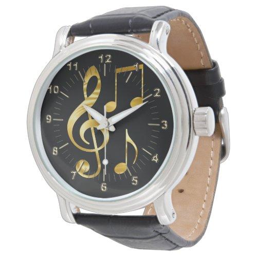 Golden violin key notes watch
