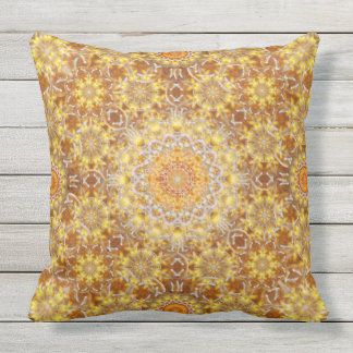Golden Visions Mandala Outdoor Pillow