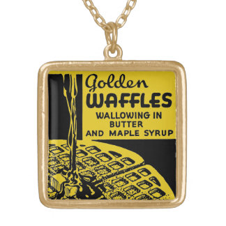 Golden Waffles Breakfast Gold Plated Necklace