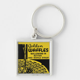 Golden Waffles Breakfast Keychain