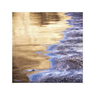 Golden Water and Purple Pebbled Beach Photo Canvas Print