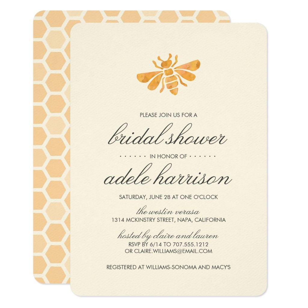 Golden Watercolor Bee Bridal Shower Card