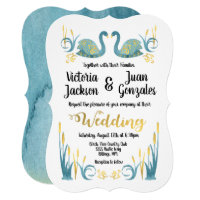 Golden watercolor Swans Wedding Invitations