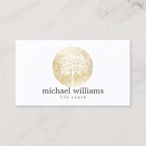 Golden Watercolor Tree Life Coach Counselors Business Card