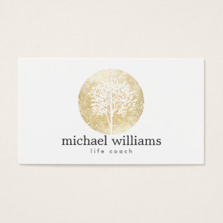 Golden Watercolor Tree Life Coach, Counselors Business Card at Zazzle