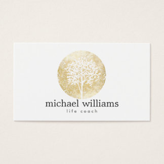 Golden Watercolor Tree Life Coach, Counselors Business Card