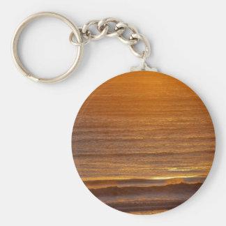 Golden Waves Basic Round Button Keychain