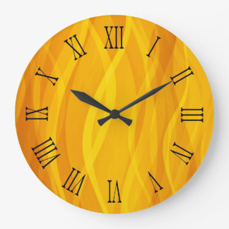 Golden weaving waves yellow wall clock