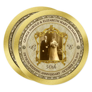 Golden Wedding Anniversary Classic Photo Frame Card