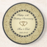 "Golden Wedding Anniversary Coaster<br><div class=""desc"">A Digitalbcon Images Design featuring a gold and black color theme with a variety of custom images, shapes, patterns, styles and fonts in this one-of-a-kind &quot;50th Wedding Anniversary&quot; Coaster. This colorful and elegant design makes a very practical memento to the anniversary couple or as a great souvenir to family and...</div>"