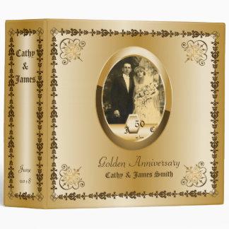 Golden Wedding Anniversary Custom Photo Ornate Vinyl Binder