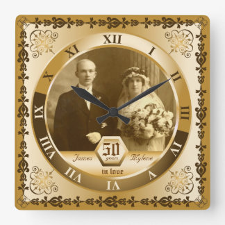 Golden Wedding Anniversary Custom Photo Ornate Wall Clocks