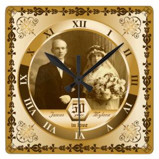 Golden Wedding Anniversary Custom Photo Ornate Square Wall Clock