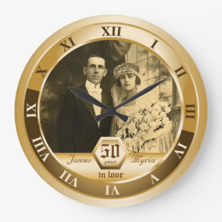 Golden Wedding Anniversary Customizable Photo Gift Large Clock