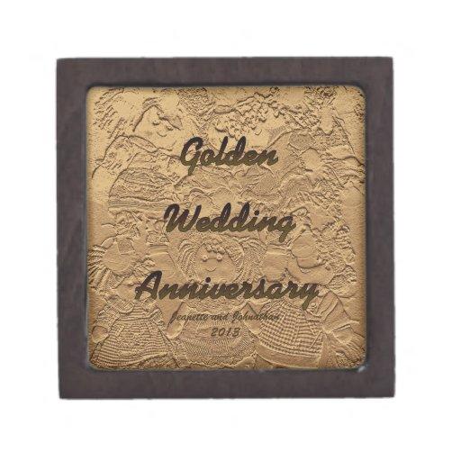 Golden Wedding Anniversary Gift Box Premium Trinket Box Zazzle