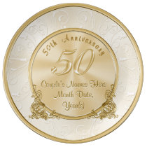 Golden Wedding Anniversary Gifts with Your Text Porcelain Plate