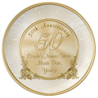 Golden Wedding Anniversary Gifts With Your Text Porcelain Plate at Zazzle