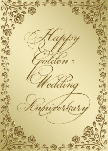 Golden anniversary greeting gifts on zazzle golden wedding anniversary greeting card m4hsunfo
