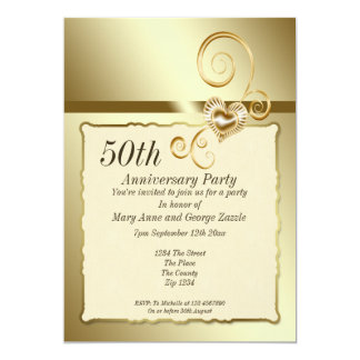Golden Wedding Anniversary Heart Card