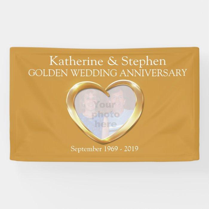 Golden wedding anniversary heart photo banner zazzle