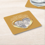 """Golden wedding anniversary heart photo coasters<br><div class=""""desc"""">Customize these golden Wedding Anniversary party paper coasters with your 50th anniversary couples names and photo. Great to add a touch of personalized fun to a golden wedding Anniversary party,  dinner parties and informal gatherings. Gold metal heart effect art and design by Sarah Trett.</div>"""