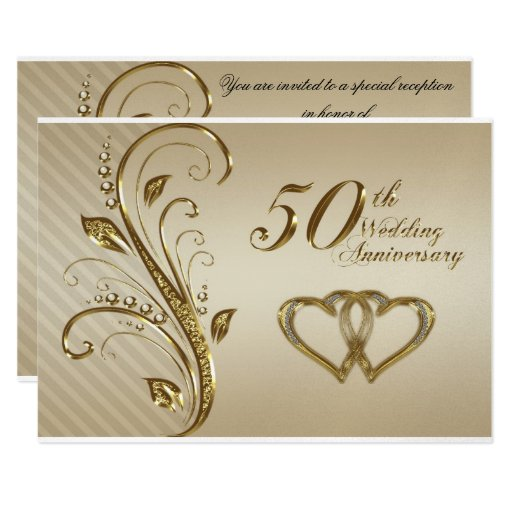 Golden Wedding Anniversary Gift Experiences : Golden Wedding Anniversary Invitation Card Zazzle