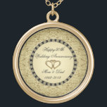 """Golden Wedding Anniversary Necklace<br><div class=""""desc"""">A Digitalbcon Images Design featuring an Gold and Black color theme with a variety of custom images, shapes, patterns and styles in this one-of-a-kind &quot;50th Wedding Anniversary&quot; Necklace. This elegant and colorful design makes the ideal gift for the Anniversary gift for the wife or as a gift for family and...</div>"""