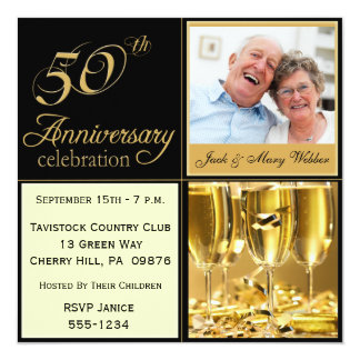 Golden Wedding Anniversary Party Invitations