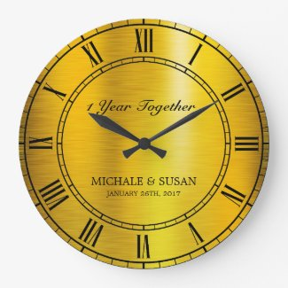 Golden Wedding Anniversary (Personalize) Large Clock