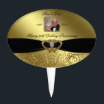 "Golden Wedding Anniversary Photo Cake Topper<br><div class=""desc"">A Digitalbcon Images Design featuring a Black Satin color and Gold Flourish design theme with a variety of custom images, shapes, patterns, styles and fonts in this one-of-a-kind &quot;50th Wedding Anniversary Design&quot; Photo Cake Topper. With this attractive and elegant design choice you&#39;ll have all your decorations, gift ideas and party...</div>"