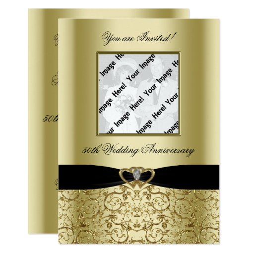 Golden Wedding Anniversary Gift Experiences : Golden Wedding Anniversary Photo Invitation Card Zazzle