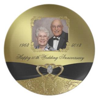 Golden Wedding Anniversary Photo Melamine Plate