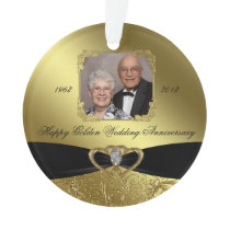 Golden Wedding Anniversary Photo Ornament