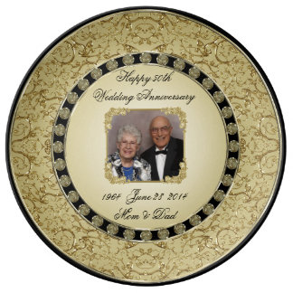 Golden Wedding Anniversary Porcelain Photo Plate Porcelain Plate