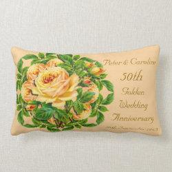 Golden Wedding Anniversary Rose Throw Pillow