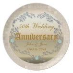 Golden Wedding Anniversary template Dinner Plate
