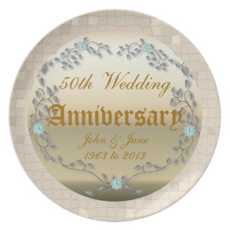Golden Wedding Anniversary template Melamine Plate