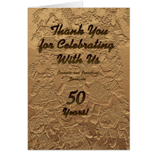 Golden Wedding Anniversary Thank You Note Dolls Card