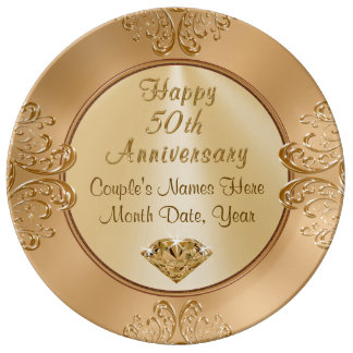 Golden Wedding Anniversay Gifts PERSONALIZED Dinner Plate