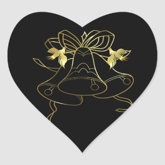 Golden Wedding Bells and Doves Heart Sticker