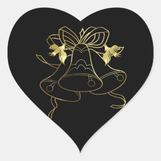 Golden Wedding Bells and Doves Heart Sticker