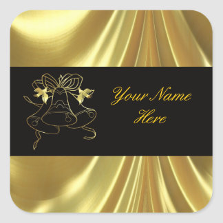 Golden Wedding Bells and Doves Square Sticker