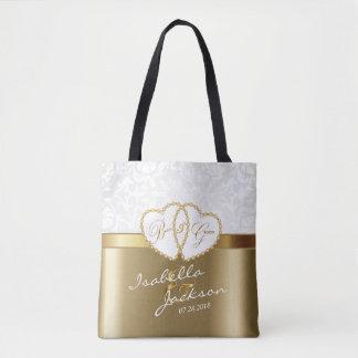 Golden Wedding Bride & Groom Keepsake Tote Bag