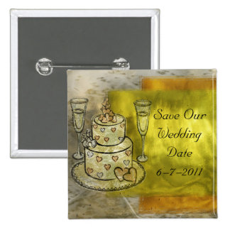 Golden Wedding Cake Celebration Pinback Button