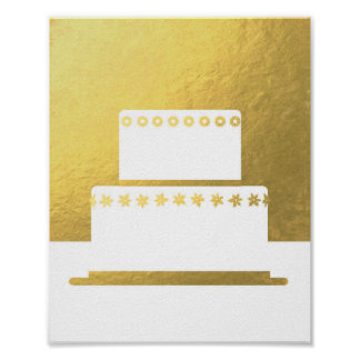 Golden wedding cake silhouette faux gold poster